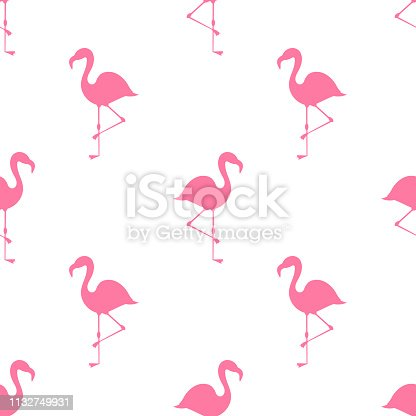 Pink flamingos summer pattern. Vector illustration.