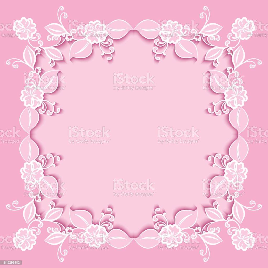 Ilustración de Marco Floral Rosa Para Diseño De Tarjetas De ...