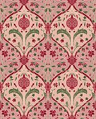 Pink floral pattern with pomegranate. Seamless filigree ornament. Stylized template for wallpaper, textile, linen, shawl, tile, carpet and any surface.