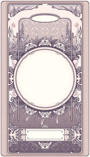 Pink floral retro frame in art-deco style