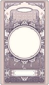 Pink floral retro frame in art-deco style.