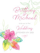Pretty watercolor floral invite. Lots of room for your own text. File is CMYK and comes with a large jpeg.