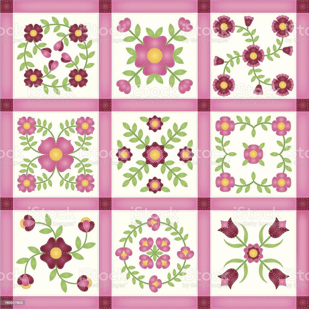 Pink Flower Applique Patchwork Quilt Blocks vector art illustration