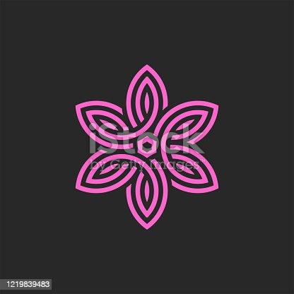 Pink flower logo linear monogram, feminine emblem for spa salon, yoga or cosmetics, floral pattern of weaving of thin lines.