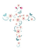 Pink flowers and butterflies forming an elegant vector isolated Christian cross