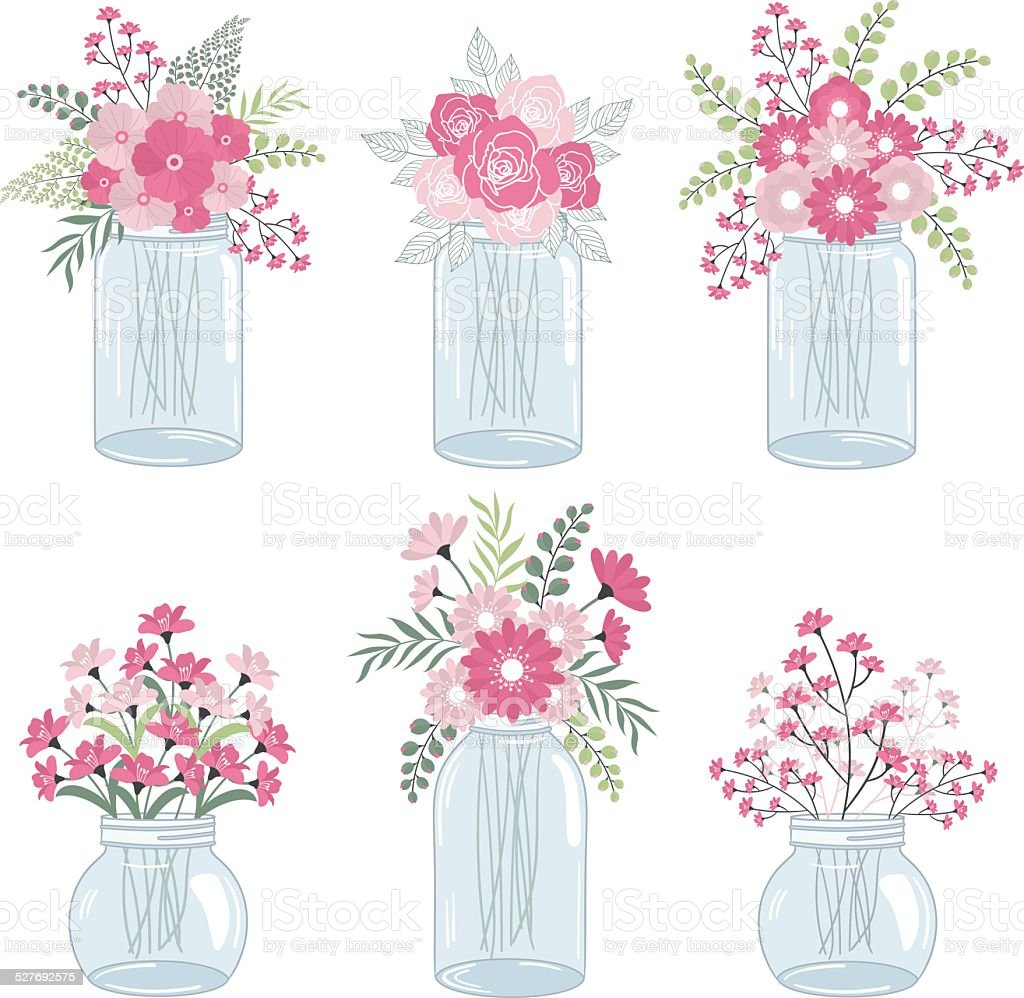 Pink flowers in mason jars vector art illustration