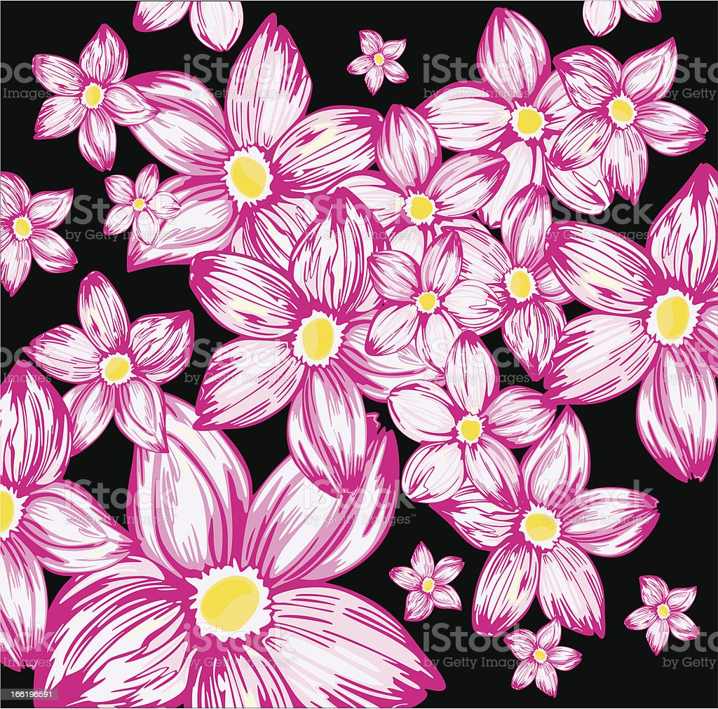 Pink Flowers On A Black Background Stock Vector Art More Images Of