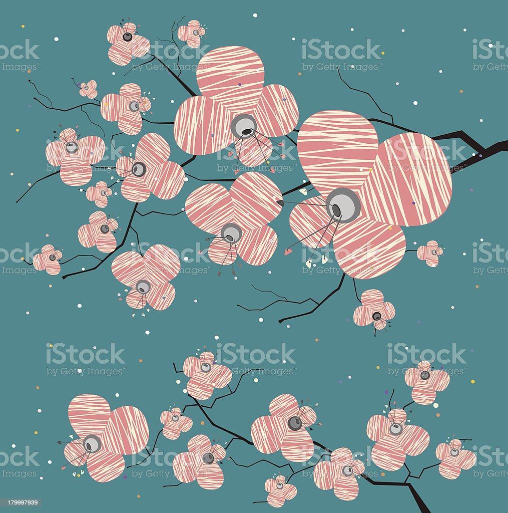 핑크 꽃이 청색 배경 royalty-free 핑크 꽃이 청색 배경 꽃 나무에 대한 스톡 벡터 아트 및 기타 이미지