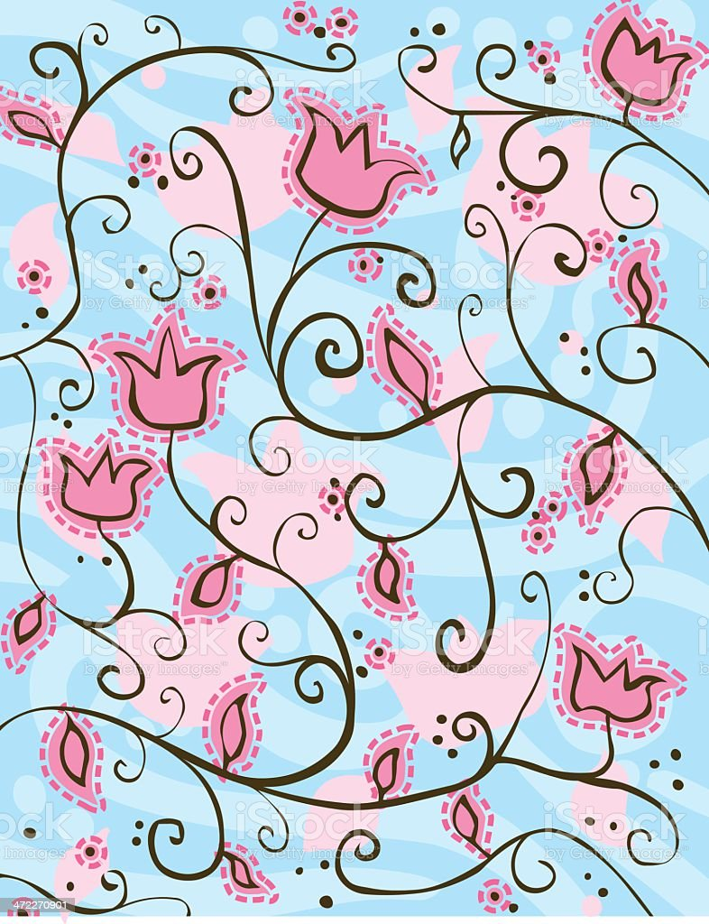 Pink Flowers on Blue royalty-free stock vector art
