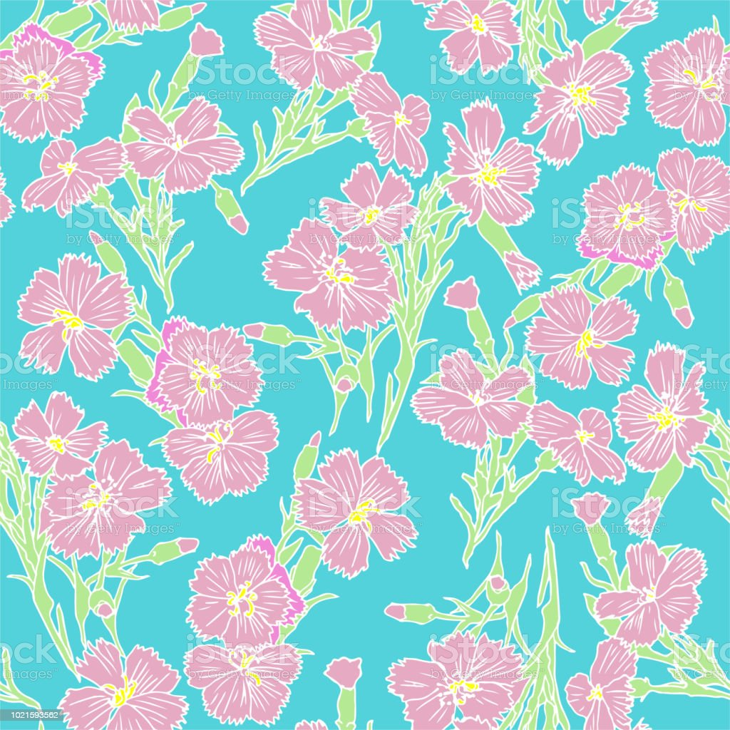 Pink Flowers Pattern On Cyan Background Seamless Flower Background