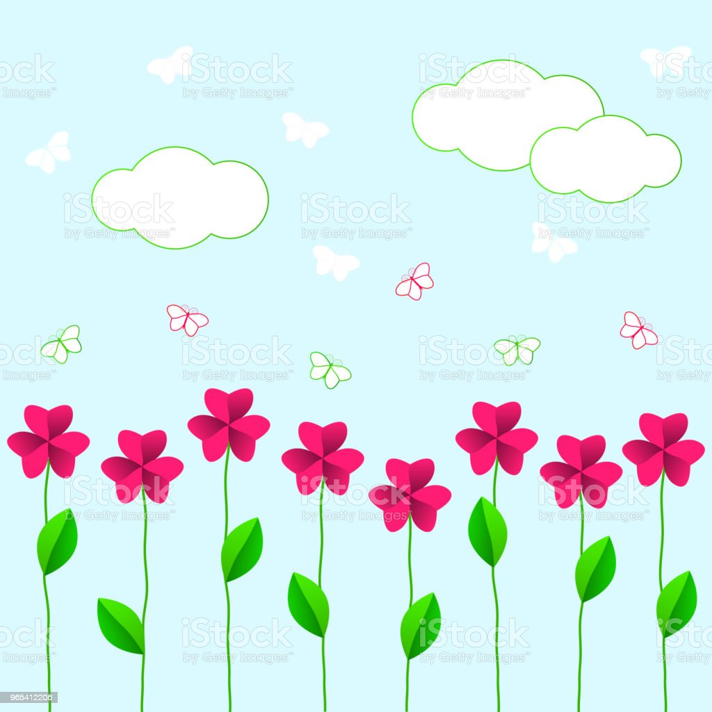 pink flowers with green leaves and butterflies on a blue background pink flowers with green leaves and butterflies on a blue background - stockowe grafiki wektorowe i więcej obrazów abstrakcja royalty-free