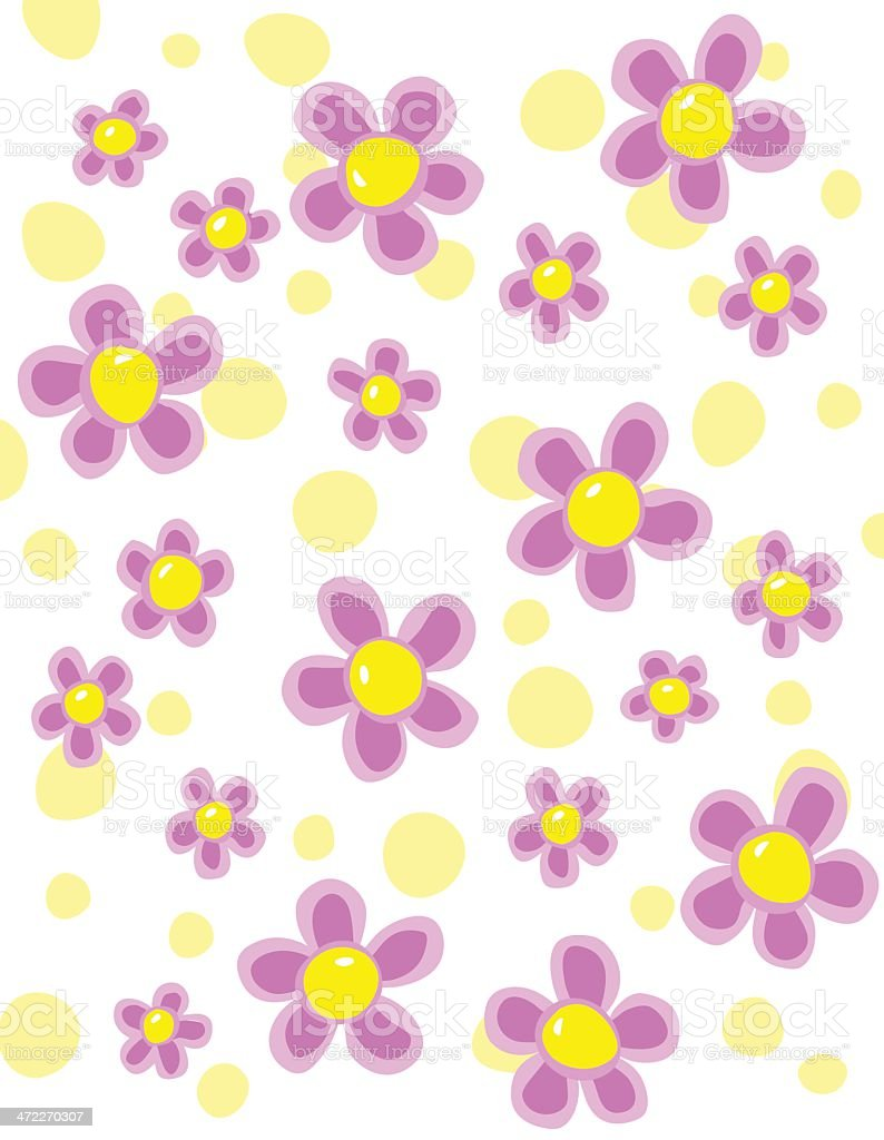 Pink Flowers Yellow Polka Dots vector art illustration