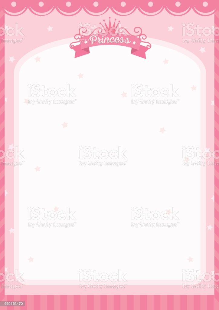 Pink Frame On Princess Theme With Space For Your Message Stock ...