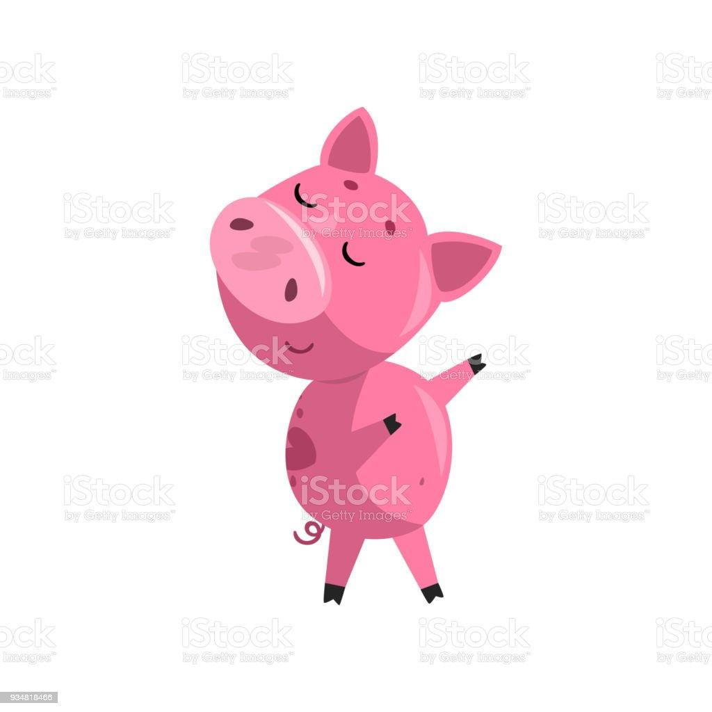 분홍색 재미 회의 만화 아기 돼지, 귀여운 작은 돼지 문자 벡터 일러스트는 흰색 바탕에 - 로열티 프리 귀여운 벡터 아트
