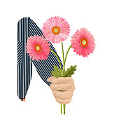 A man s hand gives a bouquet with three pink gerberas. Flowers for birthday, March 8, Valentine s Day, anniversary. For gift cards, banners. Isolated on white background, vector illustration.