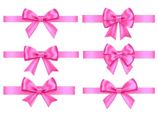 핑크 선물 크리스마스, 발렌타인의 날 장식 세트 리본. - 머리 리본 stock illustrations