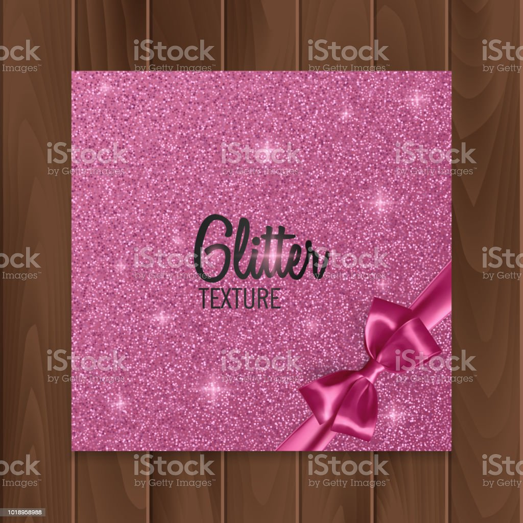 Pink, glitter background with realistic bow. Vector illustration vector art illustration