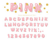 Pink glossy font. ABC letters and numbers for girls. Gold glitter confetti. Vector