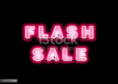 Advertising signage for promotion flash sale, this design bring the pink color to attract eye visual and keep fashioning with vintage element.