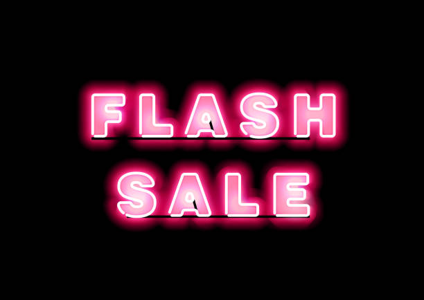 illustrations, cliparts, dessins animés et icônes de bannière de vente fluo lueur rose. - éclairage au flash