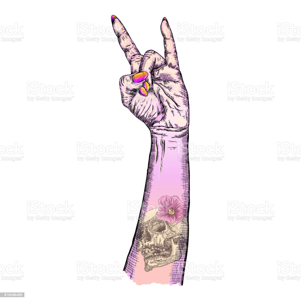 Pink gothic emo girl hand in rock n roll sign with human skull and pink gothic emo girl hand in rock n roll sign with human skull and flower flash biocorpaavc Gallery