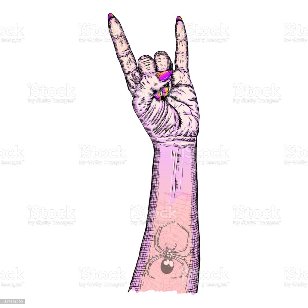 Pink gothic emo witch craft girl hand in rock n roll sign with pink gothic emo witch craft girl hand in rock n roll sign with poison spider and biocorpaavc Gallery