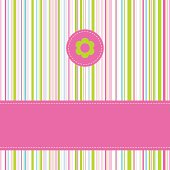 Pink green and blue lined birthday card with copy space
