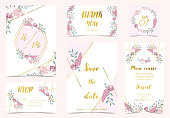 Pink green gold geometry wedding invitation with rose,flower,heart and leaves.Vector birthday invitation for kid and baby.Editable element