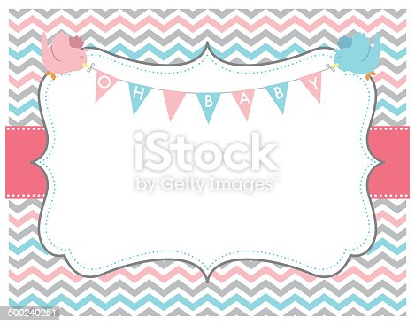 istock Pink Grey Chevron Oh Baby Card with Birds 500240251