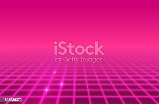 Pink glowing retro abstract grid background.