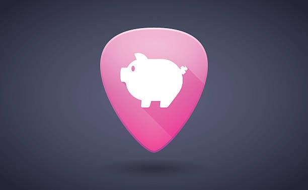 stockillustraties, clipart, cartoons en iconen met pink guitar pick icon with a pig - kabelspek