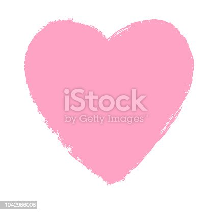 istock Pink hand drawn heart element. Vector background. 1042986008