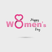 Pink Happy International Women's Day Typographical Design Elements.International Women's day symbol. Minimalistic design for international women's day concept.Vector illustration