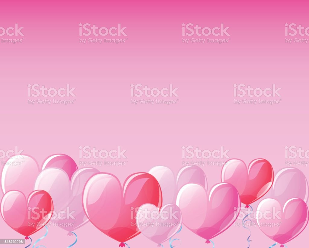 Pink heart air balloons banner background for St Valentine Day. vector art illustration
