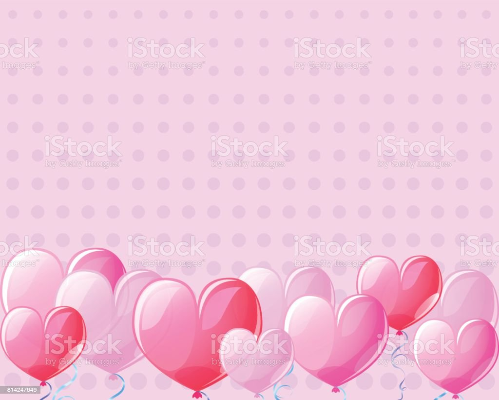 Pink heart air balloons vintage banner background for St Valentine Day. vector art illustration