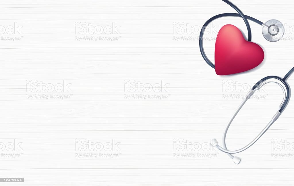 Pink heart and stethoscope on white wooden background. vector art illustration