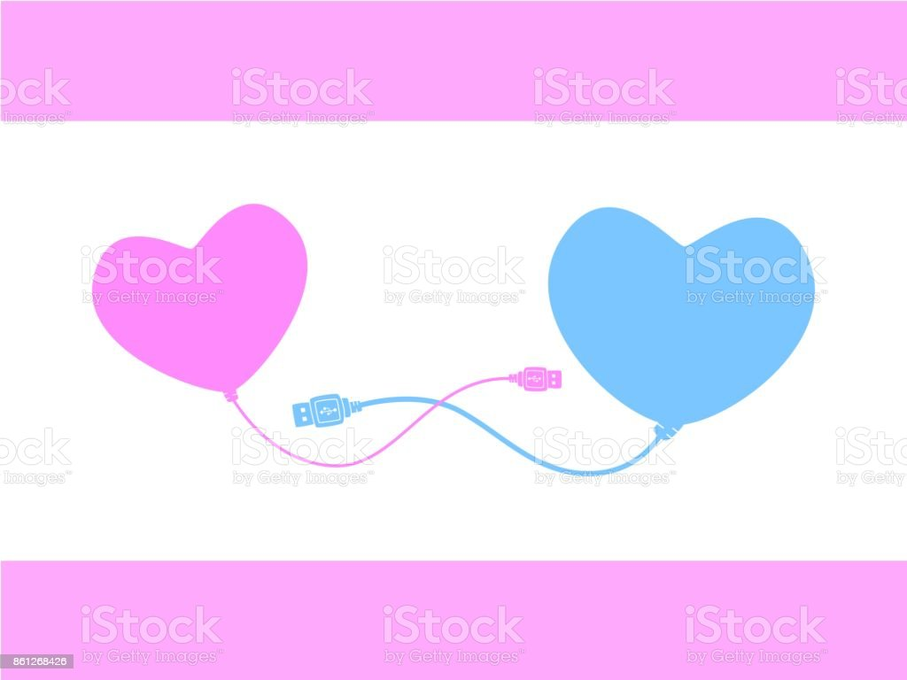 Pink Heart Connecting Blue Heart With Cable Abstract Picture Meaning