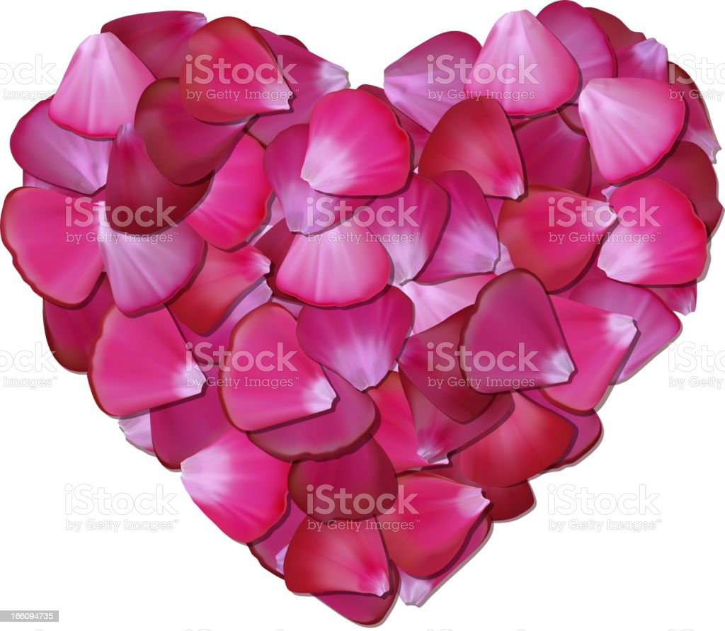 Pink heart of petals on white background royalty-free pink heart of petals on white background stock vector art & more images of abstract