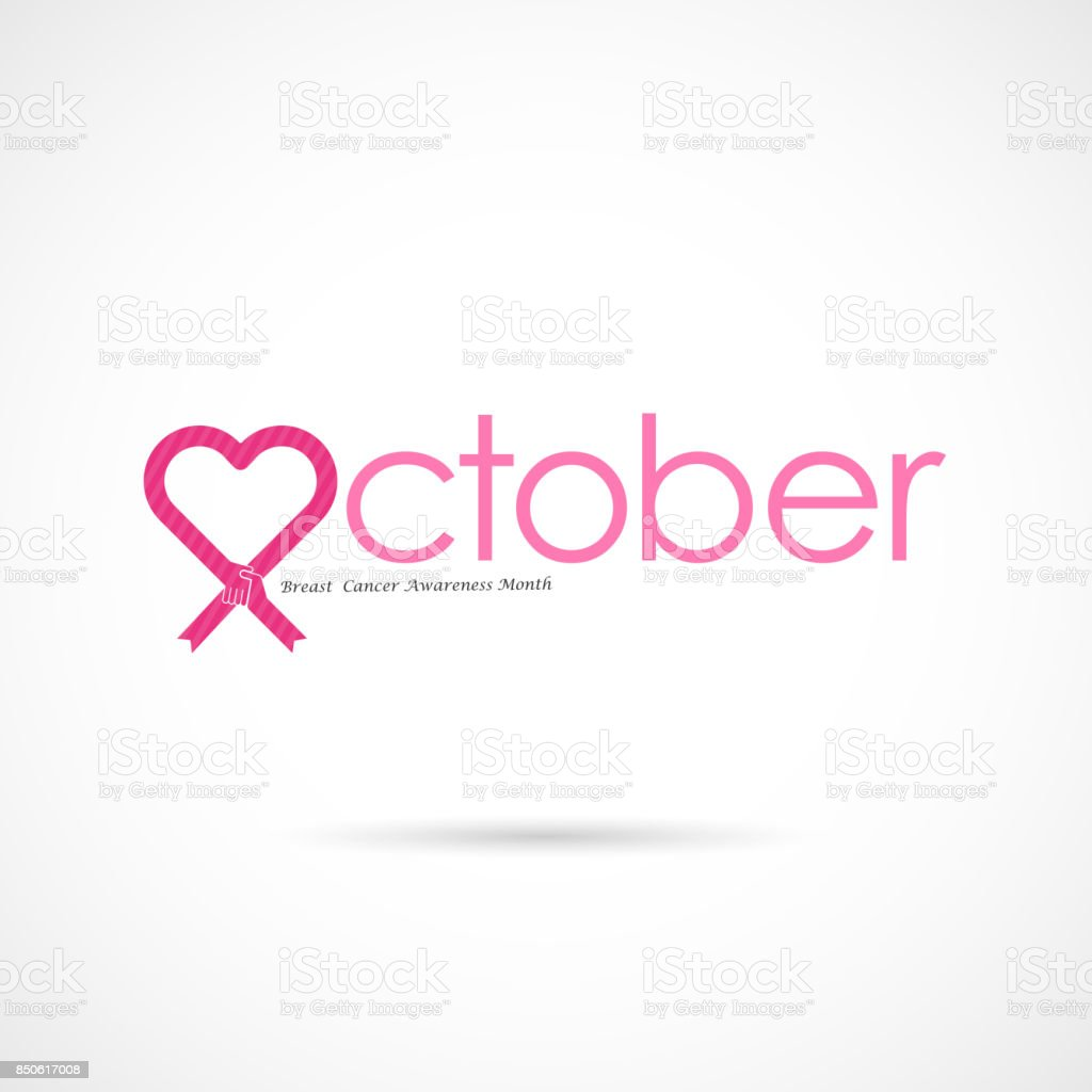 1d42a3eaada Pink Heart Ribbon Signbreast Cancer October Awareness Month Campaign ...