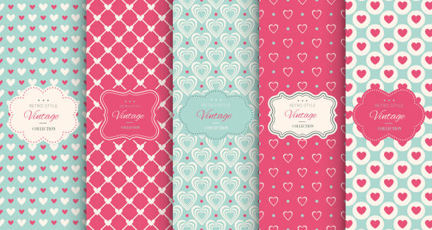Pink heart seamless pattern background Pink heart seamless pattern background. Vector illustration for holiday design. Abstract romantic photo frame. Stylish decorative bright label set. Fashion valentine day ornament. love emotion stock illustrations