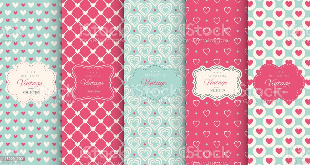 Pink heart seamless pattern background vector art illustration
