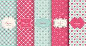Pink heart seamless pattern background