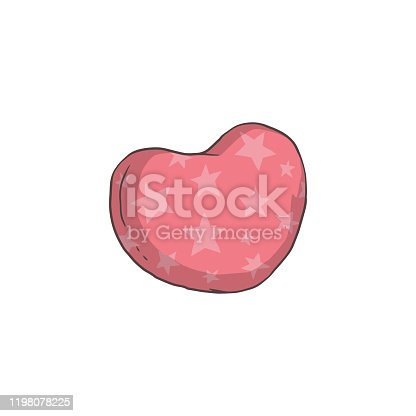 Pink heart shaped pillow with star pattern - isolated vector illustration