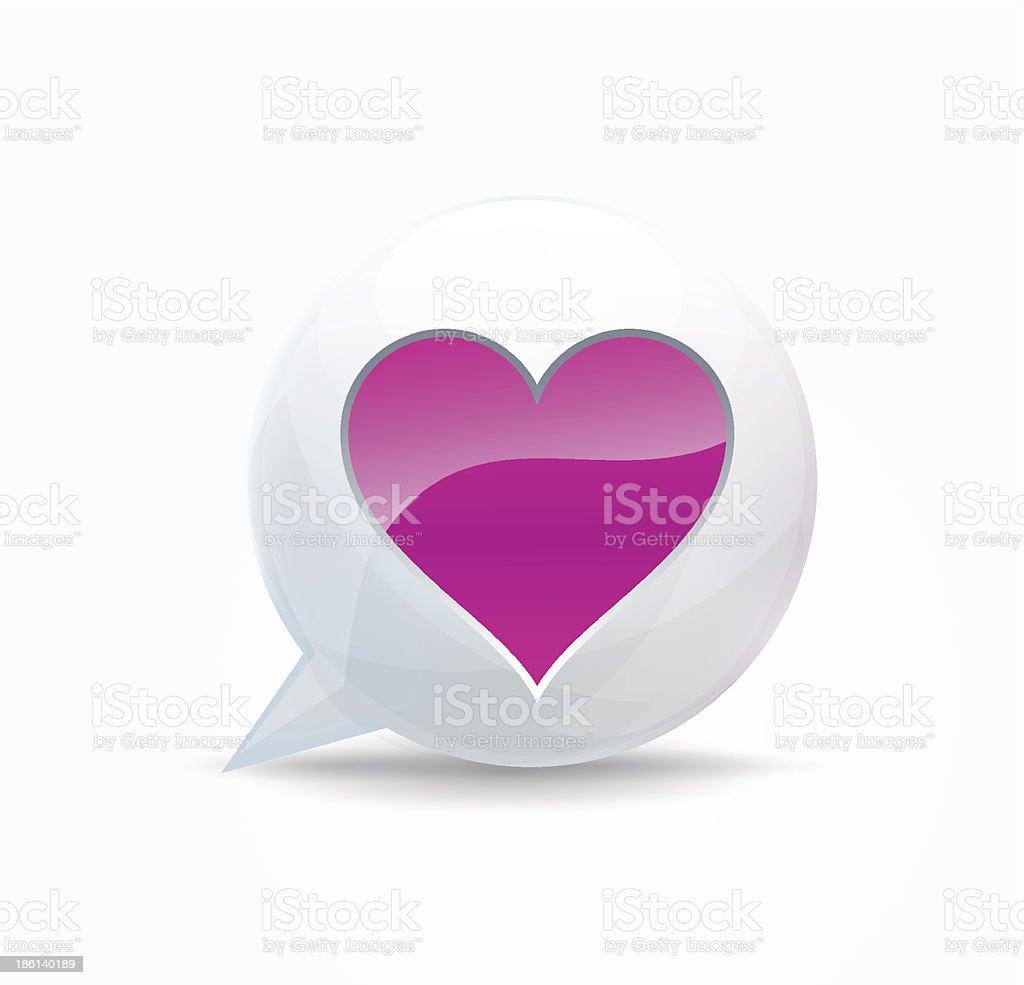 Pink heart. speech bubble royalty-free stock vector art