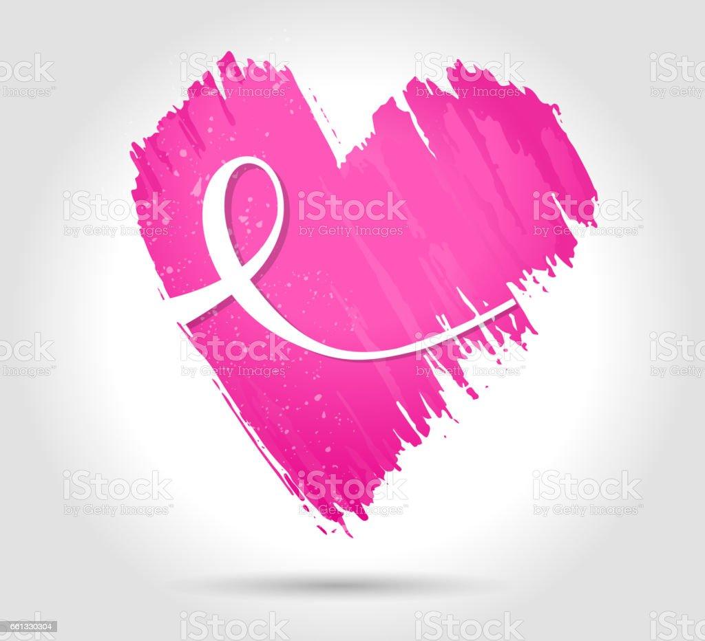 Pink heart vector art illustration