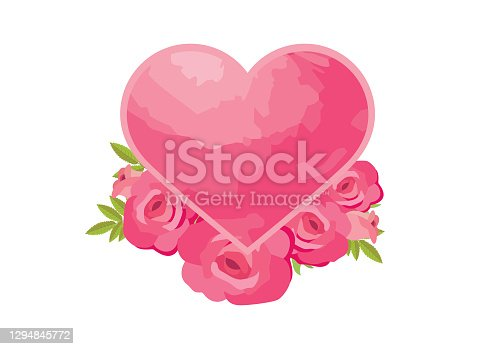 Pink valentine heart shape and roses icon isolated on a white background. Heart frame romantic decoration element vector