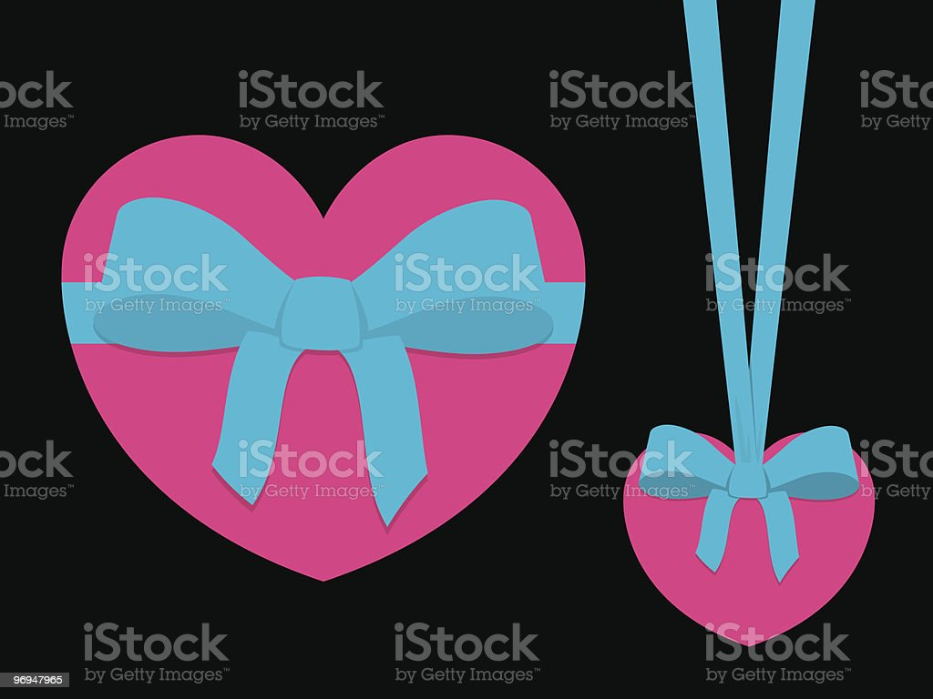 Pink heart with blue ribbon royalty-free pink heart with blue ribbon stock vector art & more images of black color