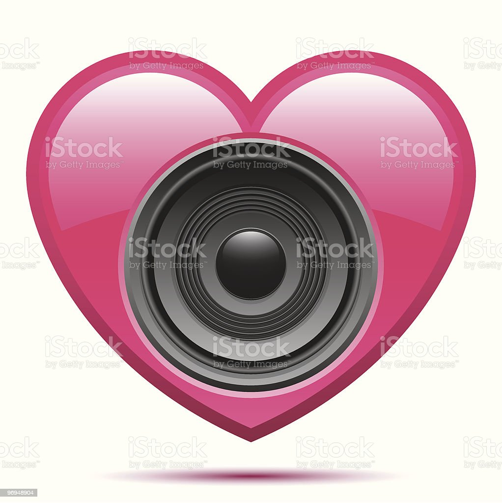 Pink heart with speaker royalty-free pink heart with speaker stock vector art & more images of audio equipment