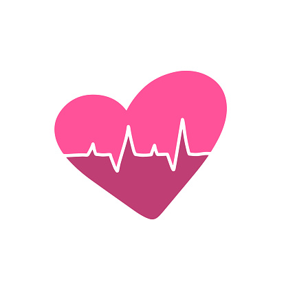 Pink Heartbeat monitor pulse line art logo. Cute medic blood pressure, cardiogram, health EKG, ECG icon. Breathing alive sign red love heart. Modern symbol flat style for medical apps, websites Vector