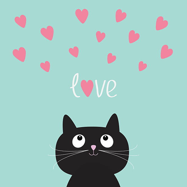Pink hearts and cute cartoon cat. Flat design style. Pink hearts and cute cartoon cat. Flat design style. Vector illustration cat valentine stock illustrations